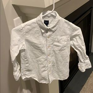 Gap Boys Size 6/7 White Linen Buttondown